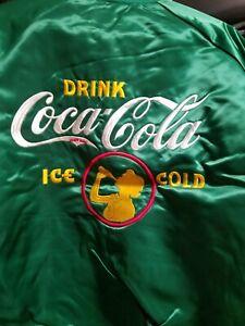 Green  Drink COCA-COLA   satin embroidered  windbreaker  JACKET M