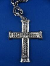 SILVER METAL CROSS -  Gothic Religious Madonna 80s Rockstar Costume Accessory