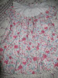 euc Glorimont shabby floral smocked eyelet lace collar dress girls 3T free ship