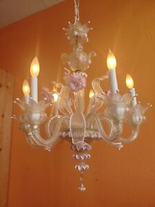 Vintage Murano Venetian Glass Hand blown Chandelier 6 lights.