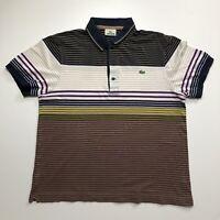 Mens Vintage Lacoste Polo Shirt Medium/4 Striped Short Sleeve