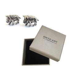 Mens Silver Warthog Animal Cufflinks & Gift Box Pumba By Onyx Art