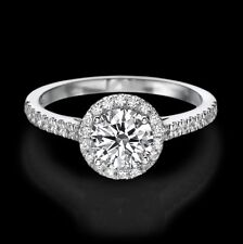 1 CARAT NATURAL ROUND CUT DIAMOND ENGAGEMENT RING D/SI2 14K WHITE GOLD ENHANCED