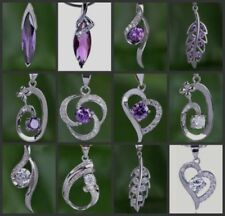 Silver Plated Amethyst CZ Costume Necklaces & Pendants