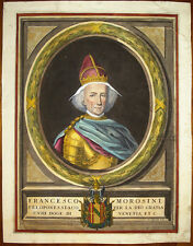 Stampa antica old print Doge Francesco Morosini 1695 Coronelli kupferstich