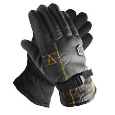 New Men's Thermal Faux Fur Lining Leather Gloves with Strap Winter Black