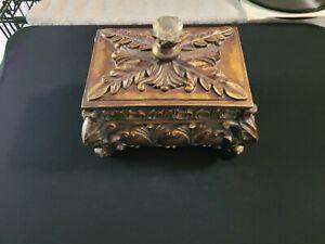 Ornate Decorative Aged Bronze/Copper Square Trinket/Jewelry Box Footed w/Lid