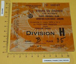 FOOTBALL BILLET COUPE DE FRANCE 1/16e 1979 PARIS FC SCO ANGERS PARC PRINCES