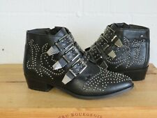 BLACK FAUX LEATHER STUDDED WESTERN BOOTS SIZE 8 / 42 BY TRUFFLE USED CONDITION