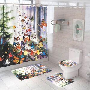 Butterfly Bathroom Rug Set Shower Curtain Non Slip Toilet Lid Cover Bath Mat
