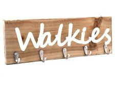 Wooden Coat Rack with White Perspex Walkies Sign. Large 45 cm Size