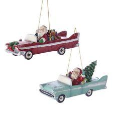 Santa in Retro 1950's Convertible Cars Set of 2 Christmas Ornaments New C7644