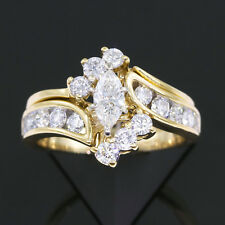 1-1/2 carat tw Marquise Cut and Round Diamond Bridal Ring Set 14k Yellow Gold ct