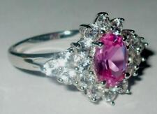 Pink Sapphire & White Topaz Ring in Genuine 10K White Gold