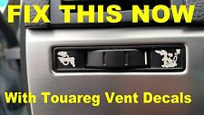 2004 – 2009 Volkswagen Touareg Fresh Air Vent Matte Black Decals Sticker Set.