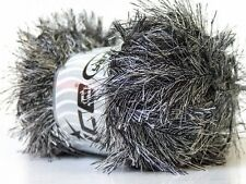 LG 100 gram Black & White Eyelash Yarn Ice Black White Fun Fur 164 Yards 22702
