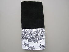 Black & White French Country Toile Fingertip Guest Towels White or Black Towels
