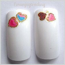 Nail Art Water Decals/Transfers/Stickers Hearts Gold Edging Valentine #102