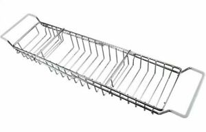 Chrome Extendable Bath Rack Bathtub Over The Bath Shower Tray Organiser 48cm RC