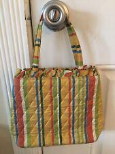 Vera Bradley Kate Pineapple Gold Striped Silk Handbag w/ ruffle top Purse