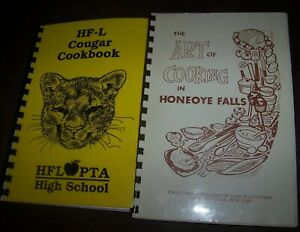 LOT 2 HONEOYE FALLS NY COOKBOOK COOK RECIPE BOOK ART OF COOKING + HIGH SCHOOL