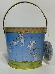 NWT Mary Engelbreit Easter Time Hoppy Easter Tin Bucket Easter Egg Pail