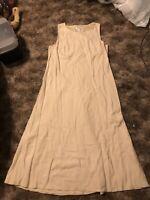 Talboits Beige Sleeveless Dress Size 18 Silk Linen Blend
