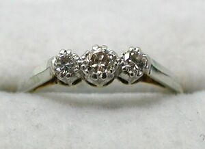 Vintage Lovely 18 carat Three Stone Diamond Ring Size L.1/2