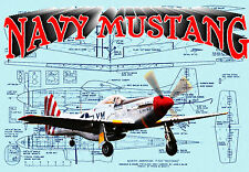 Build a CONTROL LINE NAVY MUSTANG CARRIER AIRPLANE Full size Printed PLANS