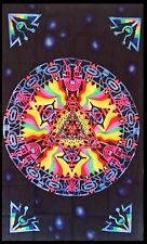 Psychedelic Aztec Geometry Wall Hanging Sacred Tapestry LSD Trippy UV