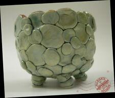 Artist Footed Blueberry Fruit Jam Cup BASKET Pottery BOWL Arts + Crafts SIGNED