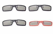 4 Pairs of 3 Black 1 Red 3D Clip on Glasses Passive 3d Tvs Cinema 3D RealD Imax