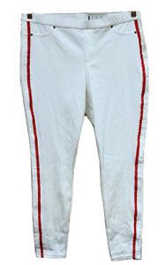 HUE 2X White w/Red Racer Stripe Original Denim Leggings
