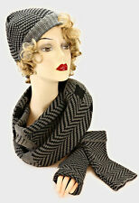 Dark Gray and Black Check and Patterned 3 Piece Hat Scarf and Hand Cover