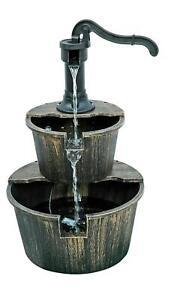 HEAVY DUTY WATER PUMP FOUNTAIN 2 TIER CASCADING FEATURE BARREL GARDEN DECK