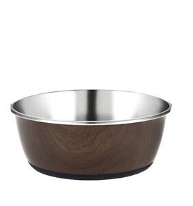 950ml Wood Effect Cubic Printed Dog Pet Water Luxury Bowl Non Slip Rubber Rim