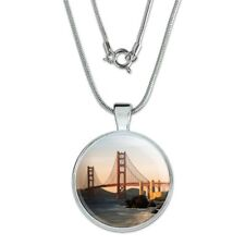 """Golden Gate Bridge San Francisco 1"""" Pendant with Sterling Silver Plated Chain"""