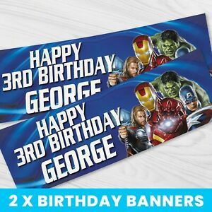 Personalised Marvel Avengers Party Banner - Children Party Banner x 2 - BB075