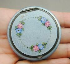 STUNNING Antique Sterling Guilloche Enamel Loose Powder Compact Flowers