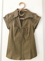 CUE Size 8 Khaki Short Sleeve Zip Front Collared Fitted Formal Work Shirt