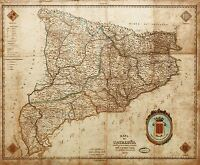 MAP ANTIQUE INDAR 1859 CATALONIA BARCELONA OLD LARGE REPRO POSTER PRINT PAM0941
