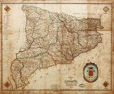 Mappa ANTICA indar 1859 Catalogna Barcellona VECCHIE GRANDI repro poster stampa pam0941