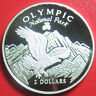 1996 COOK ISLANDS $2 SILVER PROOF BALD EAGLE OLYMPIC NATIONAL PARK MOUNTAIN 30mm