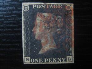 UNITED KINGDOM Sc. #1 scarce used Penny Black QV stamp! #6