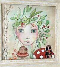 "Original Mixed Media Watercolour and  Acrylic Art Piece ""Fungi Fairy"""
