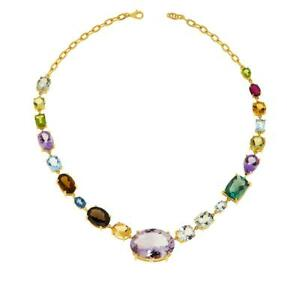 Meher's Jewelry Gold-Plated Pink Amethyst & Multi Gemstone Statement Necklace