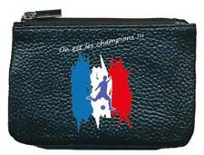 Petit Porte monnaie porte cle noir Flamme Foot Football on les les champions