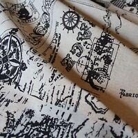 100% Linen Cotton Fabric Compass Map Vintage Design Shabby Chic145 cm Wide