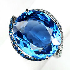 TOPAZ SWISS BLUE OVAL 15.80 CT.SAPPHIRE APATITE 925 STERLING SILVER RING SZ 6.25