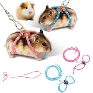 Adjustable Pet Rat Mouse Hamster Harness Rope Lead Leash with Bell Pet Supplies.